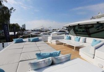 Sun pads on charter yacht SERENITY