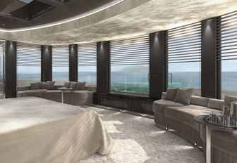 master suite with expansive views on board motor yacht Solo