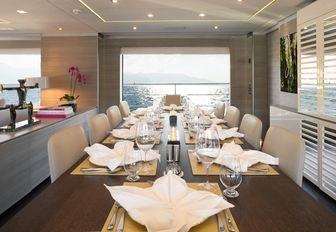 formal dining area on board charter yacht Cheers 46