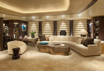 skylounge with after-dinner feel on board luxury yacht KIBO