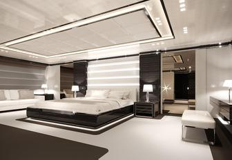 monochrome-styling in the master suite of motor yacht O'Mathilde