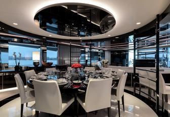 monochrome-themed dining area in the main salon of superyacht MYSKY