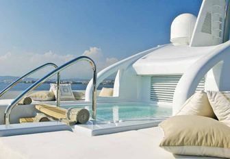the luxurious and indulgent jacuzzi located on the main aft deck of charter yacht Siren