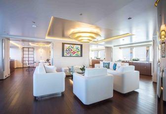 The main salon of luxury sailing yacht AQUIJO
