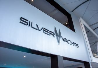 Silver yachts stand at the MYS 2021