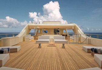 sunning area on the upper deck on charter yacht MEIRA