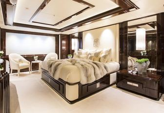 One of the guest cabins found on board luxury yacht Illusion V