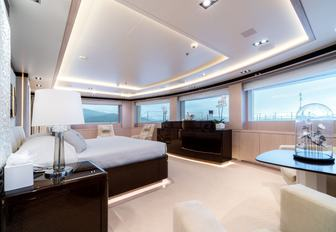 master suite with panoramic views on board charter yacht O'Ptasia