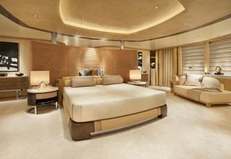 large master suite with 180-degree views on board luxury yacht KIBO