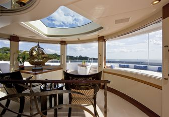 observation lounge with seating aboard motor yacht 'Blue Moon'
