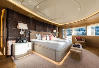master suite sleeping quarters with 180-degree views on board charter yacht 'Here Comes The Sun'
