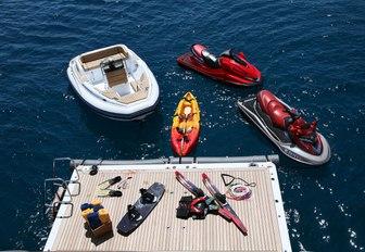 The swim platform and tenders belonging to superyacht PEGASUS