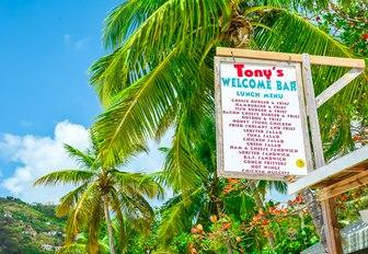menu at Tony's restaurant on beautiful Cane Garden Bay in Tortola, British Virgin Islands