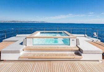 Step-up Jacuzzi on sundeck aboard superyacht NARVALO