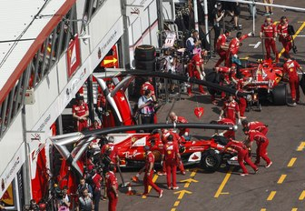 a pit stop at the Monaco Grand Prix on the streets of Monte Carlo