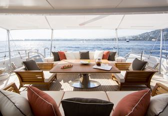 sumptuous main deck aft seating area aboard motor yacht 4YOU