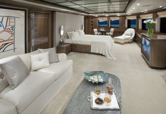 sumptuous master suite on board charter yacht Alfa Nero