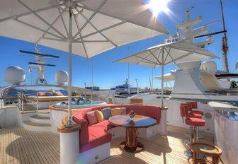 sundeck of luxury yacht balista