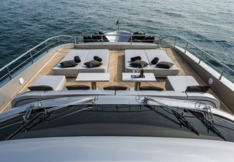 Foredeck sunlounging area on superyacht SANDS