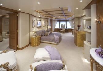 A guest cabin featured on board Feadship charter yacht CALLISTO