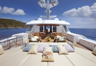the bright and airy sun deck on charter yacht lady britt perfect fro hosting lavished cocktail gatherings while overlooking the caribbean coasts