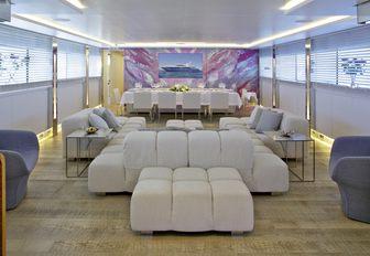 contemporary styled main salon aboard charter yacht 'Barents Sea'