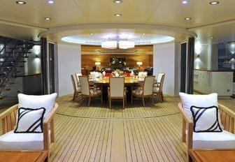 semi-alfresco set up of upper deck conservatory aboard charter yacht TV