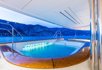 A view of the Jacuzzi fixed to the aft of luxury yacht LEGEND