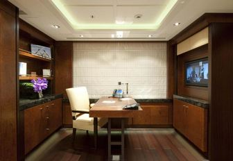 A private study onboard a luxury yacht
