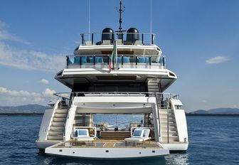 the spacious and airy swim playform on the aft of superyacht EVA. 4EVA