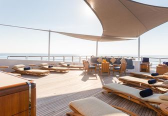 expansive sundeck with ample sunning options on board superyacht ANASTASIA