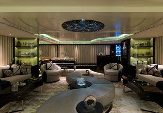 art deco-inspired salon on board motor yacht SEALYON