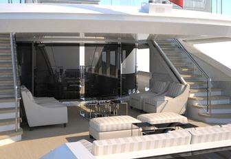 Comfortable seating area on deck of superyacht Philmi