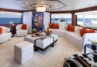 Main salon of luxury yacht At Last