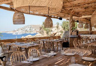 boho-luxe restaurant at Scorpios, Mykonos, Greece