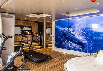 the well appointed gym and cinema screen of charter yacht severin's