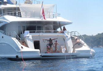 Cristiano Ronaldo jumps from the swim platform of luxury superyacht Africa I