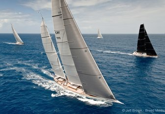 Charter yacht Rosehearty cuts through the water at the St Barths Bucket Regatta