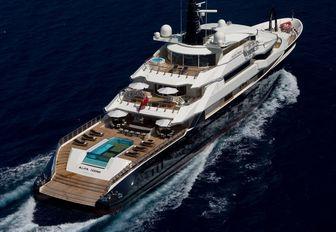 Aerial shot of luxury superyacht Alfa Nero sailing through deep blue ocean
