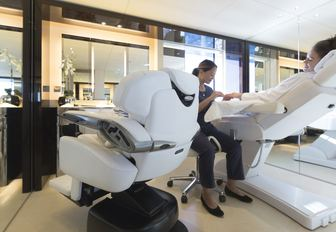 guests gets a manicure in the beauty salon aboard luxury yacht NAUTILUS