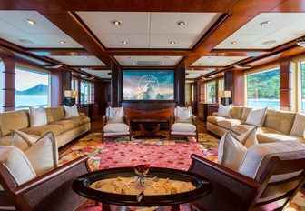 The main salon and film screen belonging to M/Y USHER