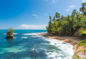 white sandy beach flanked by rainforest in Costa Rica