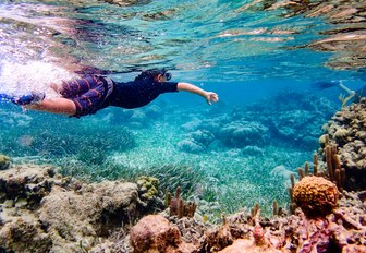 Underwater image of 7 year old boy snorkeling through coral reef near Ambergris Caye, Belize