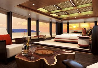 master suite surrounding by full-length windows on board motor yacht Illusion Plus