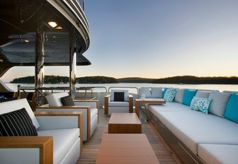 Outdoor seating space on charter yacht AMARULA SUN