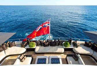 The furnishings which line the aft deck of 'Lioness V'
