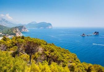 Sunny day and beautiful landscape over Montenegro coastline. Balkans, Adriatic sea