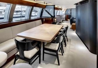 cool and contemporary dining area aboard superyacht VERTIGO