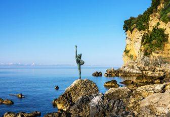 gymnast statue on seaside of Budva, Montenegro