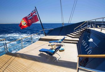 The swim platform of sailing yacht AQUIJO
